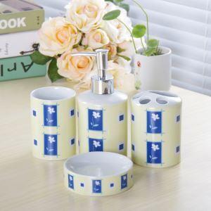 浴室用品 サニタリー容器 陶器製 田舎風 創造的 4点セット BE107