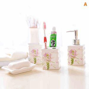 浴室用品 サニタリー容器 陶器製 ハスの花 5点セット BE112