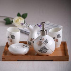 浴室用品 サニタリー容器 陶器製 ヨーロッパ風 創造的 5点セット BE118