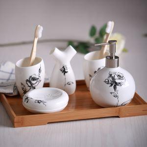 浴室用品 サニタリー容器 陶器製 ヨーロッパ風 創造的 5点セット BE121
