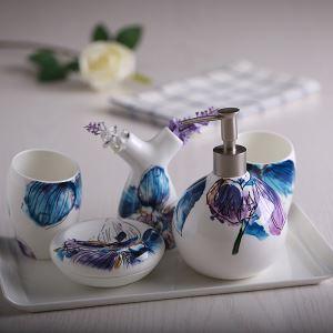 浴室用品 サニタリー容器 陶器製 ヨーロッパ風 創造的 5点セット BE124
