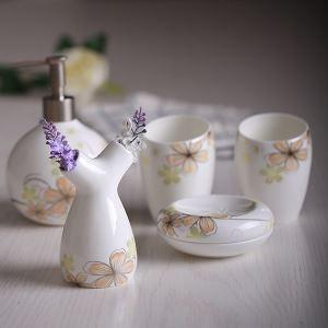 浴室用品 サニタリー容器 陶器製 ヨーロッパ風 創造的 5点セット BE125