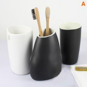 浴室用品 サニタリー容器 陶器製 白色&黒色 3点セット BE130