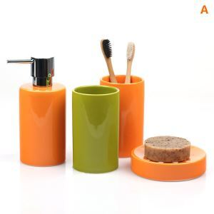 浴室用品 サニタリー容器 陶器製 円柱形 創造的 4点セット BE132