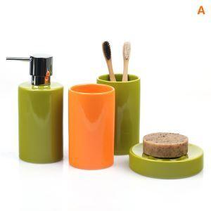 浴室用品 サニタリー容器 陶器製 円柱形 創造的 5点セット BE134