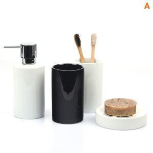 浴室用品 サニタリー容器 陶器製 円柱形 創造的 5点セット BE135