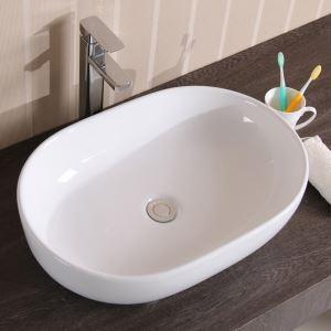 手洗い鉢 洗面ボウル 洗面台 手洗器 洗面ボール 陶器製 楕円形 排水金具&排水トラップ付 49cm 翌日発送
