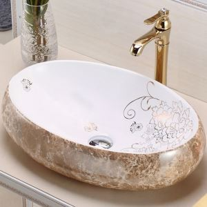 手洗い鉢 洗面ボウル 洗面台 手洗器 洗面ボール 陶器製 大理石風合い 排水金具&排水トラップ付 48cm
