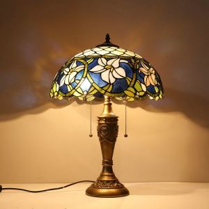 テーブルランプ ティファニーライト ステンドグラスランプ 卓上照明 寝室スタンド 2灯 16in