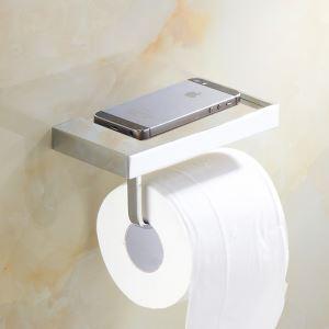 トイレットペーパーホルダー 紙巻器 収納棚付き トイレ用品 真鍮製 携帯電話置き クロム