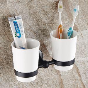 歯ブラシホルダー 歯ブラシスタンド バス用品 カップ付き 収納 真鍮製 ORB