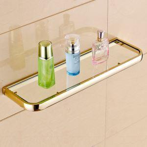 シェルフ 化粧棚 ガラス棚 浴室棚 バス用品 浴室収納 真鍮製 Ti-PVD