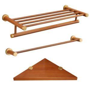 バスアクセサリーセット タオルラック&タオルバー&シェルフ 収納 高分子木材製 エコ 北欧風