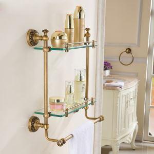 シェルフ 化粧棚 ガラス棚 浴室棚 バス用品 浴室収納 2段 真鍮製 ブロンズ