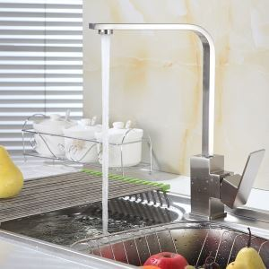 キッチン蛇口 台所蛇口 冷熱混合水栓 ヘアライン 360°回転