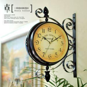 壁掛け時計 静音時計 両面時計 北欧風