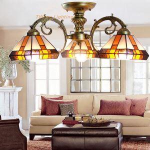 シャンデリア ステンドグラスランプ ティファニーライト 照明器具 リビング照明 吹き抜け照明 3灯 BEH3732