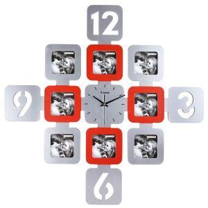 壁掛け時計 フォトフレーム付写真8枚収納と時計が一体♪ 静音時計 インテリア時計