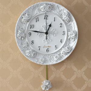 壁掛け時計 振子時計 静音時計 白色 姫系