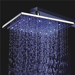 3色LEDヘッドシャワー シャワー水栓 温度センサー付 25cm