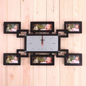 【壁掛け時計】フォトフレーム付写真6枚収納と時計が一体♪ 静音時計
