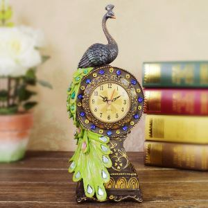 置き時計 静音時計 孔雀型時計 アンティーク調
