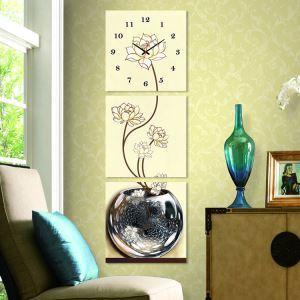 壁掛け時計 壁絵画時計 静音時計 壁飾り オシャレ 3枚パネル 蓮の花