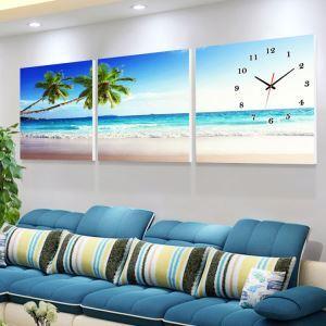 壁掛け時計 壁絵画時計 静音時計 壁飾り オシャレ 3枚パネル 砂州