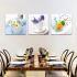 壁掛け時計 静音時計 絵画時計 アート時計 壁飾り 3枚パネル 食器柄