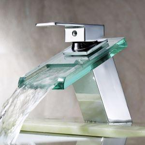 洗面蛇口 バス水栓 水道蛇口 冷熱混合水栓 ガラス製滝状吐水口(MS19)
