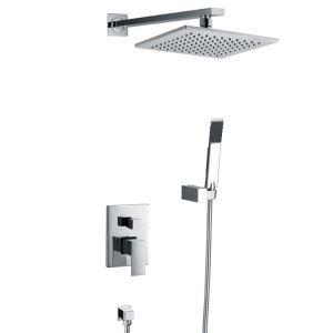 埋込形シャワー水栓 シャワーシステム バス蛇口 シャワーバー ヘッドシャワー+ハンドシャワー 混合栓 クロム
