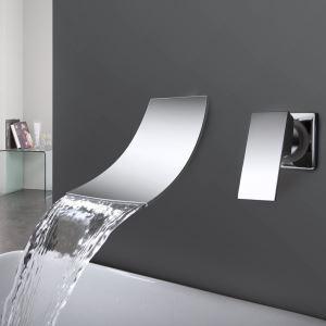 壁付水栓 バス水栓 洗面蛇口 混合水栓 水道蛇口 ハンドル別掛け 滝状吐水口