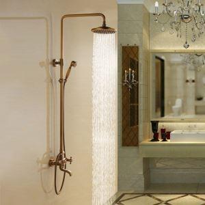 浴室シャワー水栓 レインシャワーシステム シャワーバー ヘッドシャワー+ハンドシャワー+蛇口 バス水栓 アンティーク