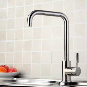 キッチン蛇口 台所蛇口 冷熱混合栓 水道蛇口 ステンレス鋼 ヘアライン H335mm