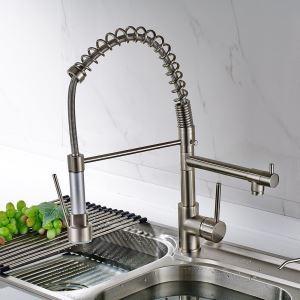 キッチン蛇口 台所蛇口 2吐水口水栓 光沢