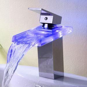 3色LEDバス・洗面蛇口 水流発電 温度センサー付 クロム