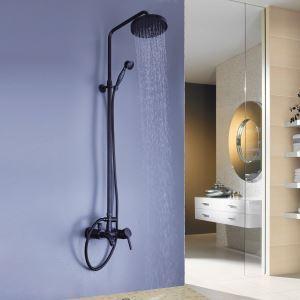 レインシャワーシステム シャワーバー バス水栓 ヘッドシャワー+ハンドシャワー+蛇口 黒色 MRS01