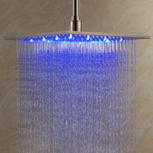 3色LEDヘッドシャワー レインシャワー水栓 光沢 30cm