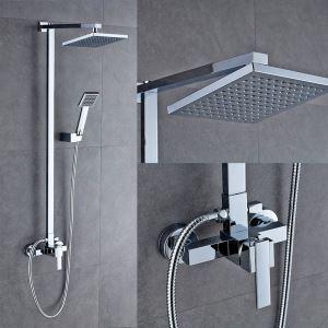 レインシャワーシステム シャワーバー バス水栓 ヘッドシャワー+ハンドシャワー 混合栓 クロム