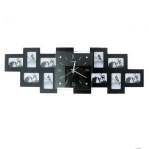 【壁掛け時計】フォトフレーム付写真10枚収納と時計が一体♪ 時計 静音時計