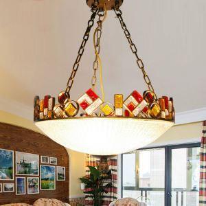 ペンダントライト 照明器具 リビング照明 店舗照明 寝室照明 彩色瑠璃 ボヘミア風 3灯 RI50663