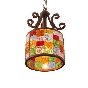 ペンダントライト 天井照明 照明器具 リビング照明 彩色瑠璃照明 ボヘミア風 1灯 D25cm RI80899B