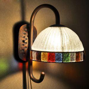 壁掛けライト ウォールランプ 玄関照明 ブラケット 彩色瑠璃照明 ボヘミア風 1灯 RIB058