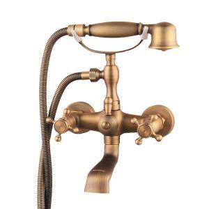 浴槽水栓 壁付水栓 シャワー水栓 ハンドシャワー付き バス水栓 ブロンズ色 YMS-030