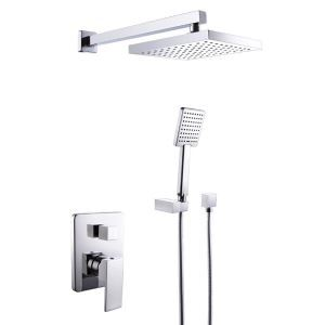 埋込形シャワー水栓 レインシャワーシステム シャワーバー ヘッドシャワー+ハンドシャワー クロム YMS-010