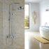 レインシャワーシステム シャワーバー ヘッドシャワー+ハンドシャワー バス水栓 クロム YMS-028