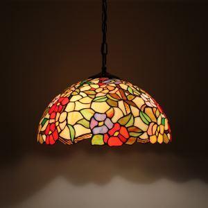 ステンドグラスランプ ペンダントライト ティファニーライト 照明器具 花柄 2灯 D40cm LTPL019