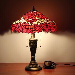 ステンドグラスランプ 卓上照明 テーブルランプ ティファニーライト 寝室スタンド 紅葉柄 2灯 16in TL008