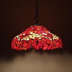 ステンドグラスランプ ペンダントライト ティファニーライト 照明器具 紅葉柄 2灯 D40cm LTPL014