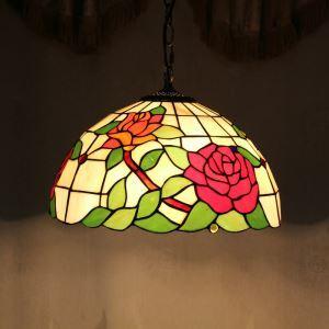 ペンダントライト ステンドグラスランプ ティファニーライト リビング照明 ダイニング照明 寝室照明 バラ柄 2灯 D40cm LTPL020